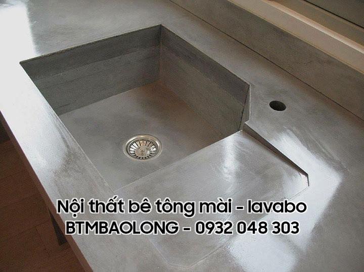 Nội thất bê tông mài - lavabo chậu rửa