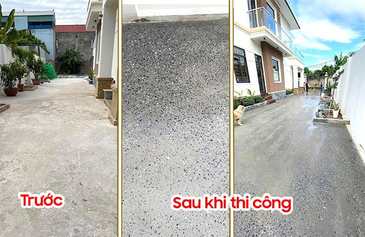 Hình ảnh trước và sau khi thi công bê tông mài